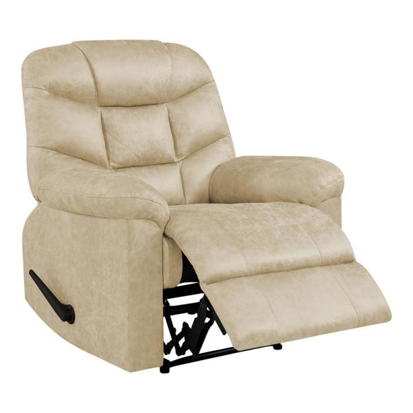 Undefined Wall Hugger Recliner In Tan Distressed Faux Leather