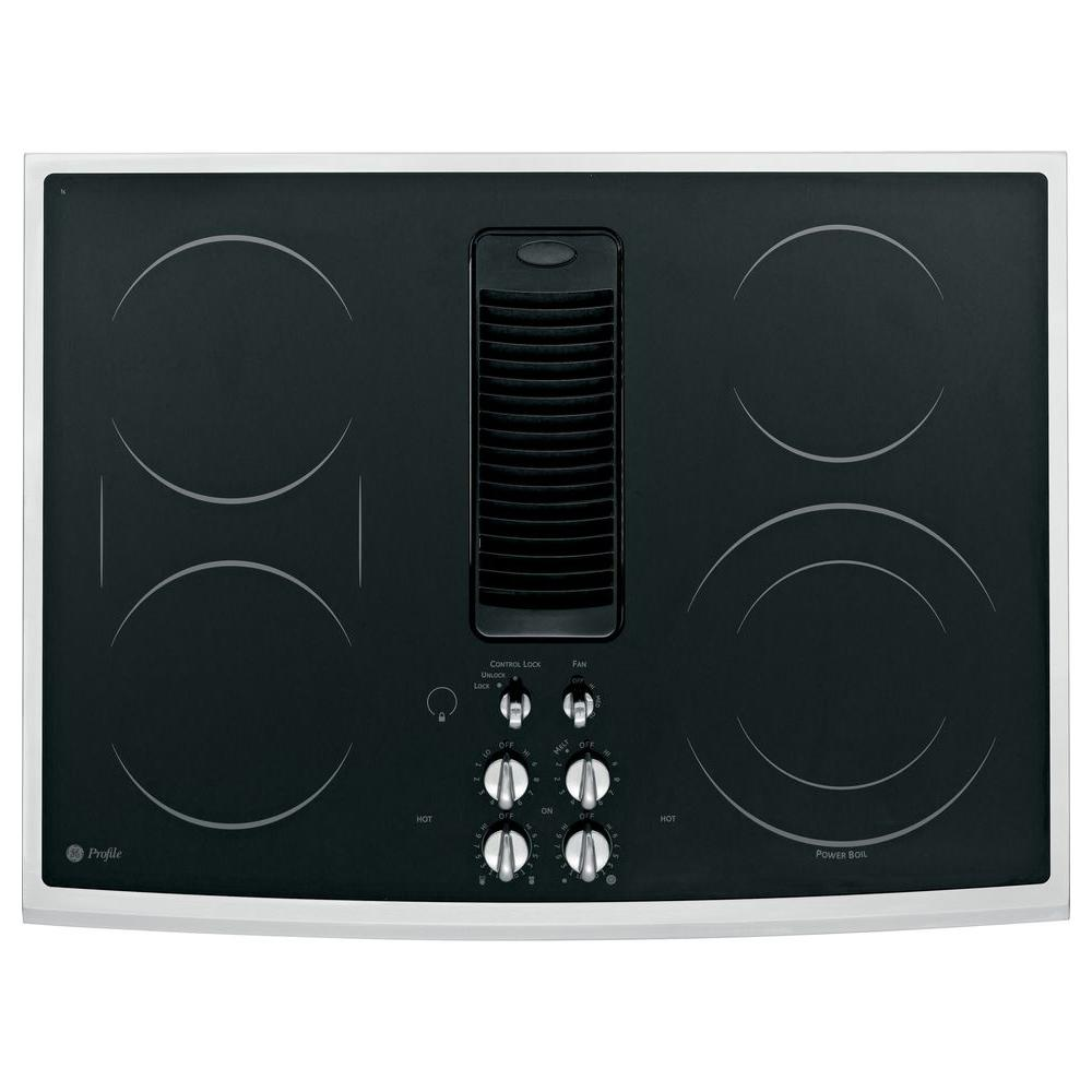 GE Profile 30 in. Glass Ceramic Downdraft Radiant Electric Cooktop in Stainless Steel with 5 Elements
