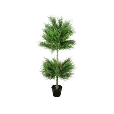 44 in. Potted Artificial Cypress Double Ball Topiary Tree