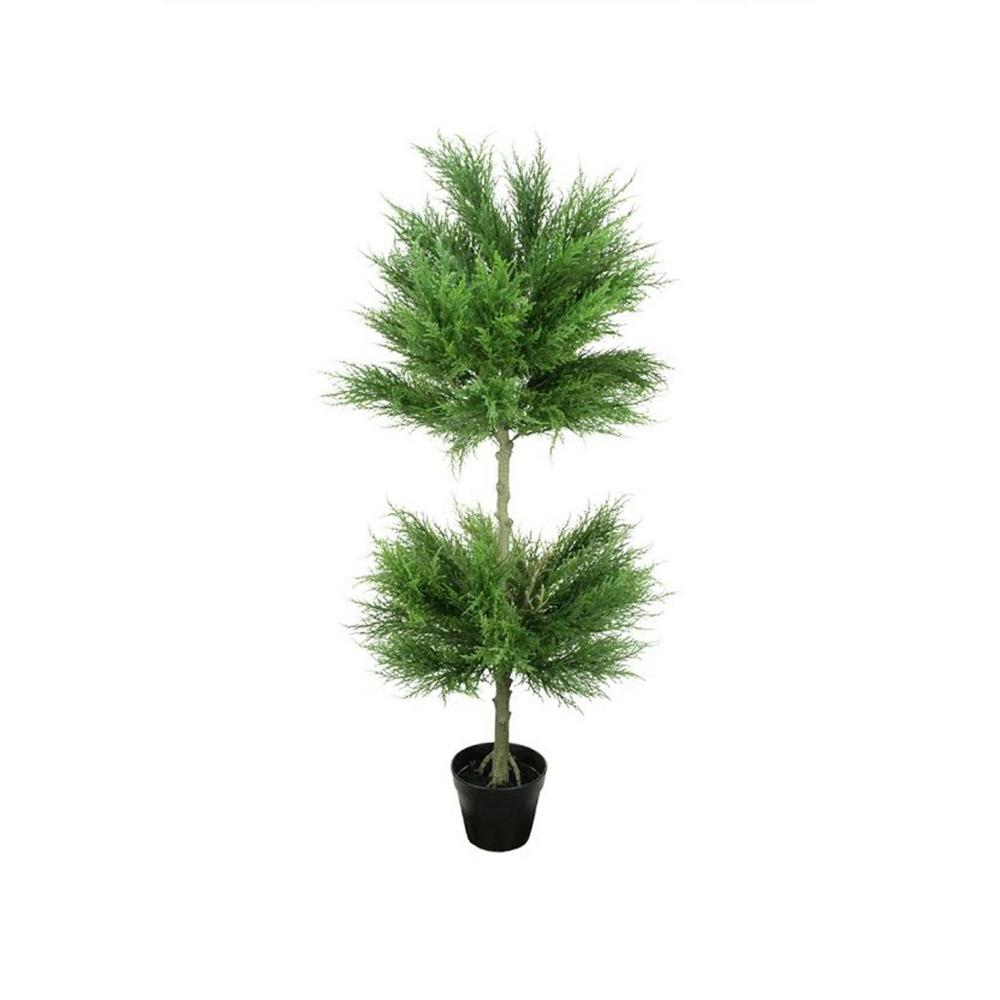 Northlight 44 in. Potted Artificial Cypress Double Ball Topiary Tree