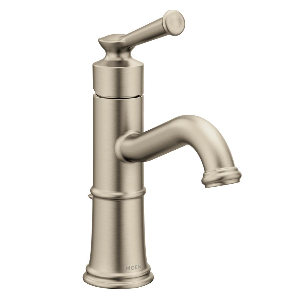Moen Belfield Single Hole 1 Handle Bathroom Faucet In Brushed Nickel