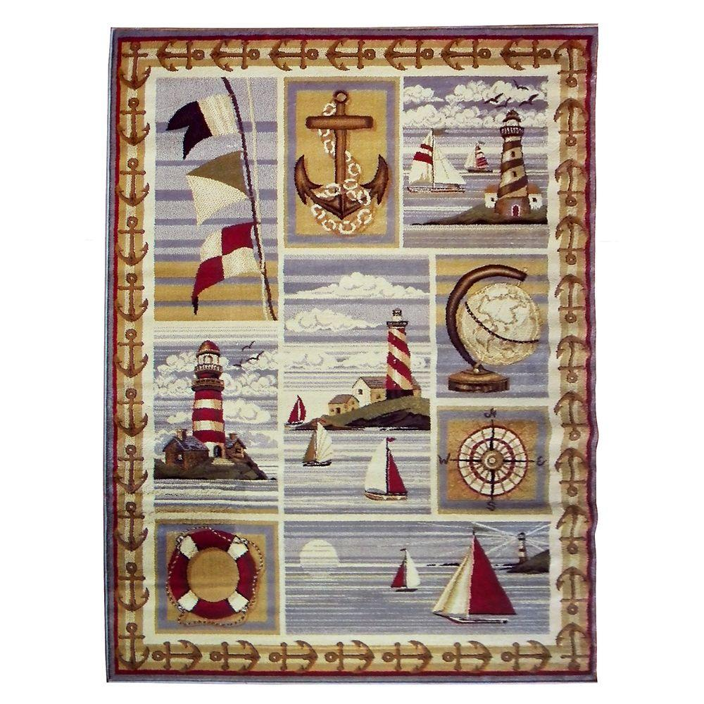 DonnieAnn Wilderness Design Beige Nautical Anchor Flag Lighthouse And Globe  5 Ft. 2 In.