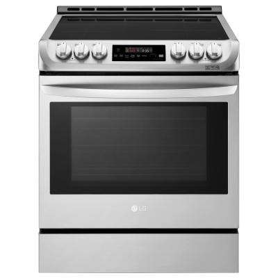 30 in. 6.3 cu. ft. Smart Slide-in Electric Range with Pro Bake Convection Oven, Self Clean and Wi-Fi in Stainless Steel
