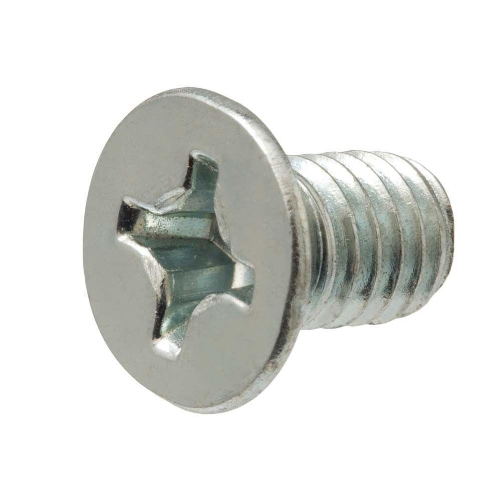 #10-24 tpi x 4 in. Zinc-Plated Flat Head Phillips Machine Screw (2-Pack)
