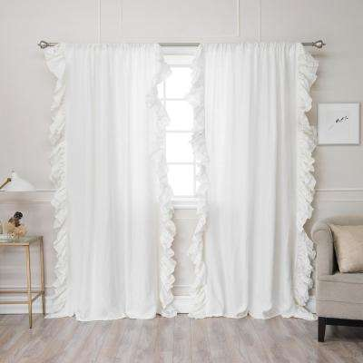 84 in. L Abelia Belgian Flax Linen Ruffled Bordered Rod Pocket Panel in Ivory