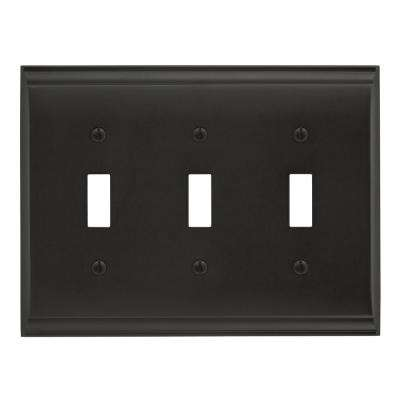 Candler 3 Toggle Black Bronze Wall Plate