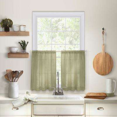 Cameron 30 in. W x 36 in. L Linen Kitchen Tiers in Sage (Set of 2)