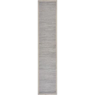 16 in. W x 80 in. L Bordered Light Gray Solid Woven Table Runner