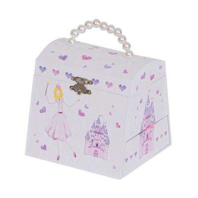 Amy Girl's White Fashion Paper Musical Ballerina Jewelry Box