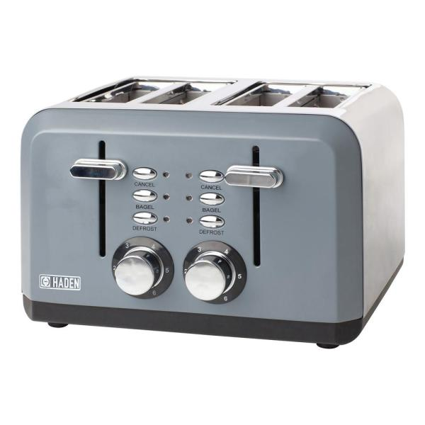 Perth 1500-Watt 4-Slice Wide Slot Slate Grey Toaster with Removable Crumb Tray and Adjustable Settings