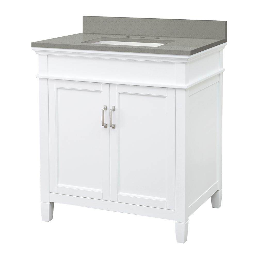 Foremost Ashburn 31 in. W x 22 in. D Vanity Cabinet in White with Engineered Quartz Vanity Top in Sterling Grey with White Basin was $699.0 now $489.3 (30.0% off)