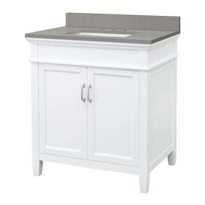 Ashburn 31 in. W x 22 in. D Vanity Cabinet in White with Engineered Quartz Vanity Top in Sterling Grey with White Basin