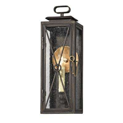 Randolph 1-Light Vintage Bronze 15.75 in. H Outdoor Wall Mount Sconce with Clear Seeded Glass