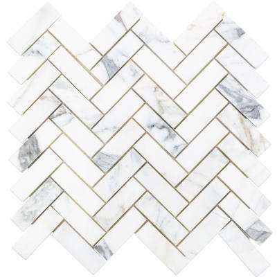 Calacatta Herringbone Marble Mosaic - 3 in. x 6 in. x 10.5 mm Tile Sample