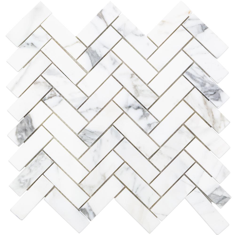 Calacatta Herringbone Marble Mosaic - 3 in. x 6 in. x 10.5 mm Tile Sample