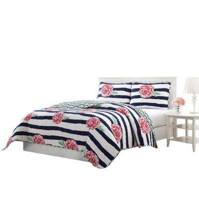 Marielle 3-Piece Navy/Pink/Green/White King Reversible Quilt Set