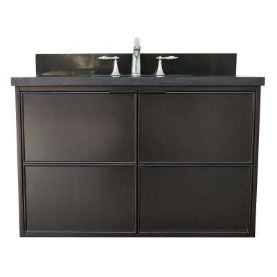 Scandi IV 37 in. W x 22 in. D Wallmount Bath Vanity in Cappuccino with Granite Top in Black with White Rectangle Basin