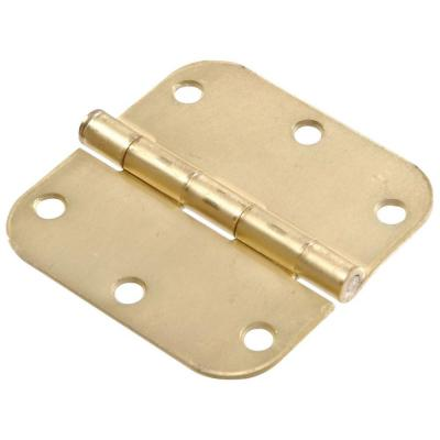 3-1/2 in. Satin Brass Residential Door Hinge with 5/8 in. Round Corner Removable Pin Full Mortise (9-Pack)