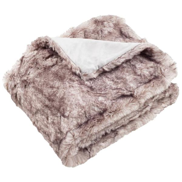 Faux Chinchilla 50 in. x 60 in. Gray Throw