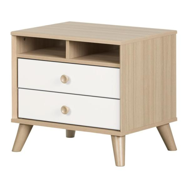 South Shore Yodi 2-Drawer Soft Elm and Pure White Nightstand