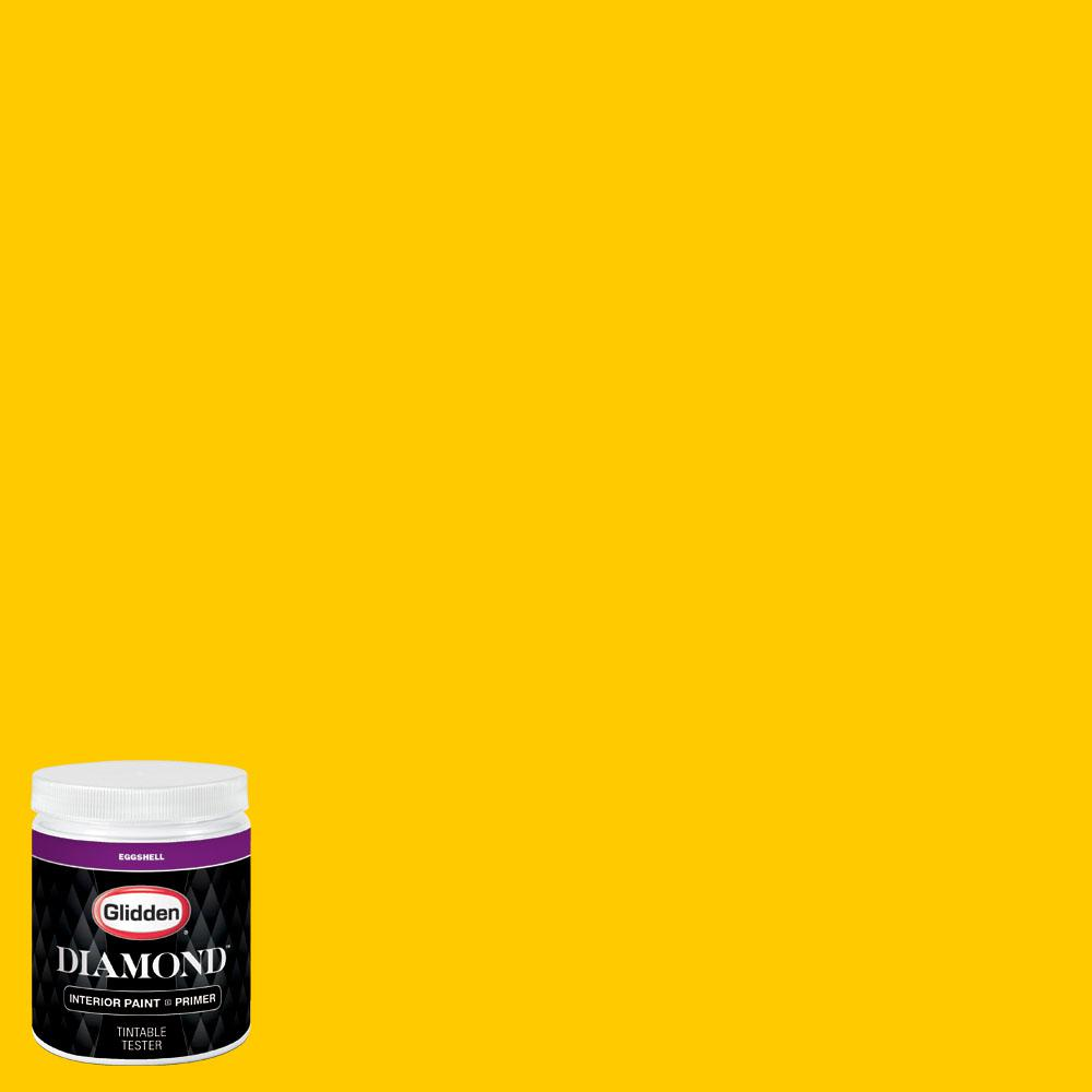 Glidden premium 8 oz bb 200c miami marlins yellow for Eggshell yellow paint