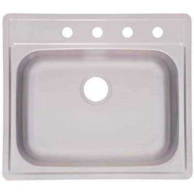 Drop-In Stainless-Steel 25 in. 4-Hole Single Bowl Kitchen Sink