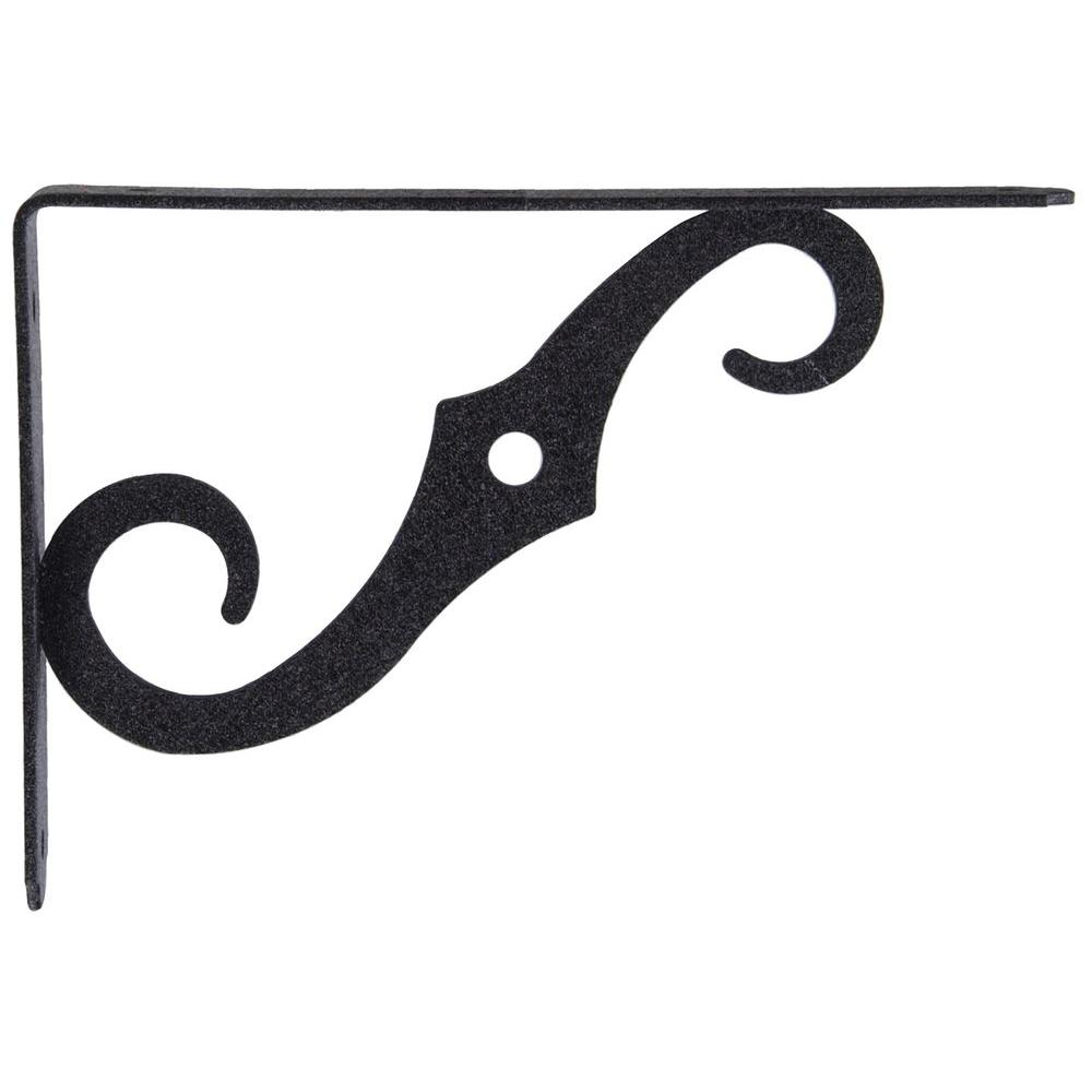 10 x 7 in. Antique Black Ornamental Shelf Bracket (10-Pack)