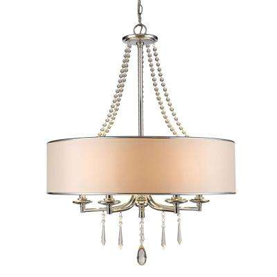 Eloise Collection 5-Light Chrome Chandelier with Bridal Shade