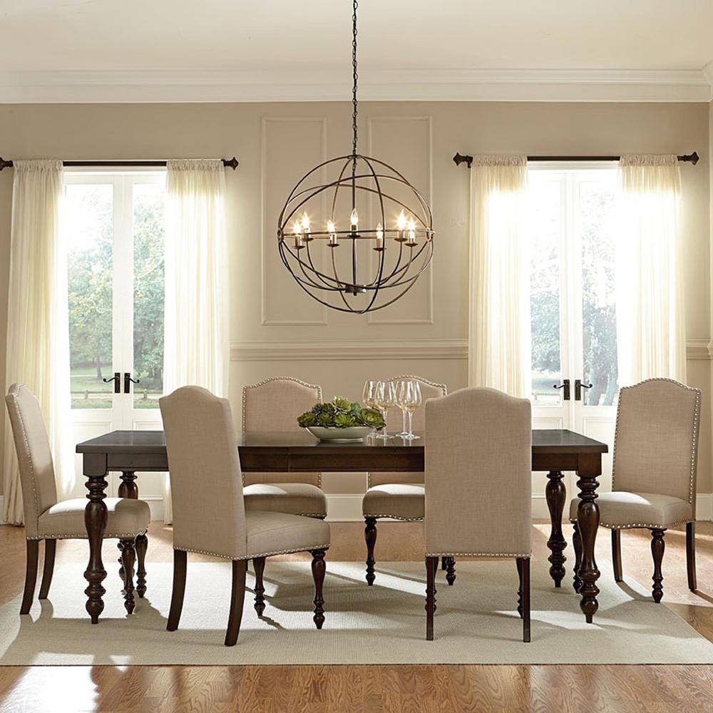 Charming Baxton Studio Zachary 7 Piece Beige Fabric Upholstered Dining Set