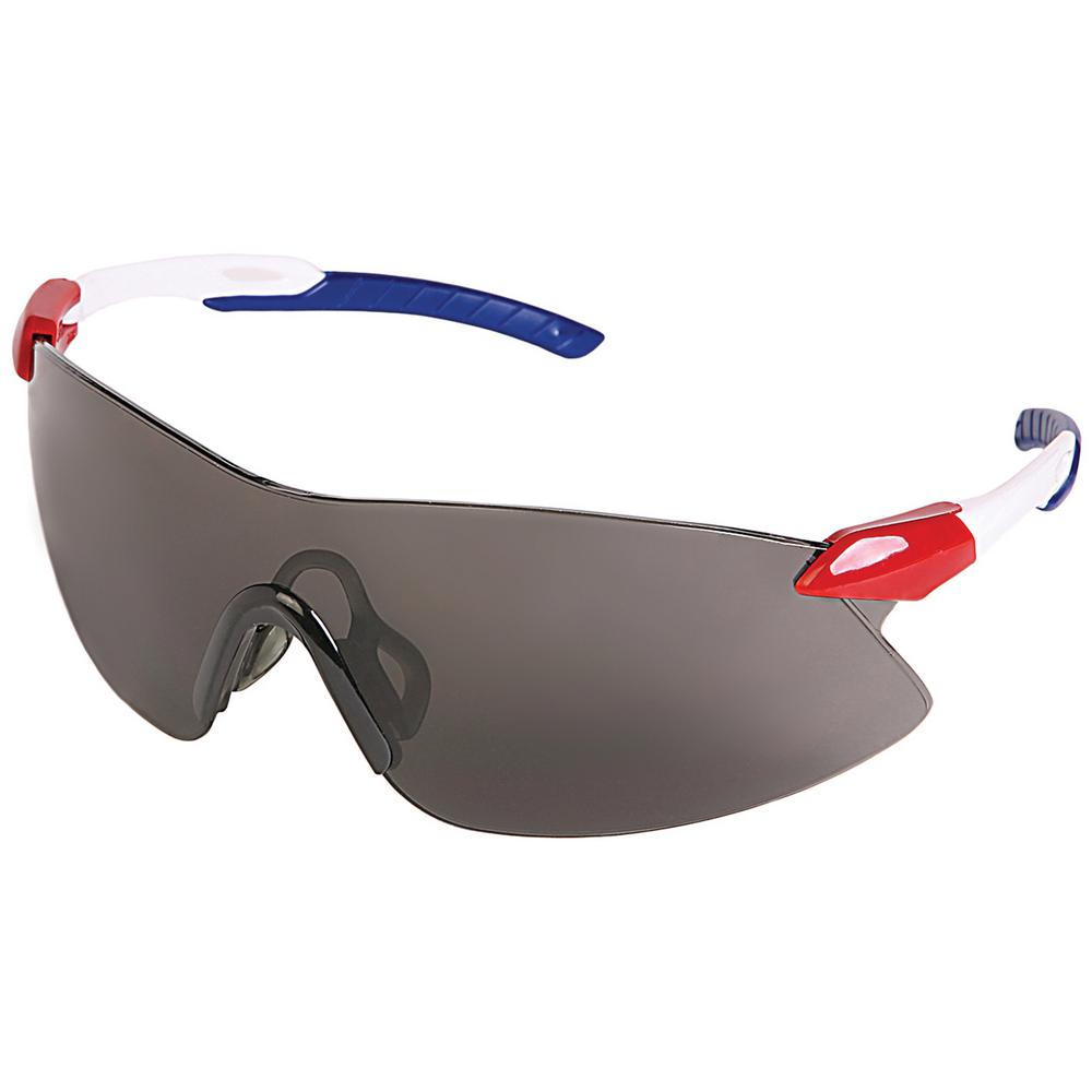 7b9d9771ba2 ERB Strikers Eye Protection Red White Blue Temple and Gray Lens ...