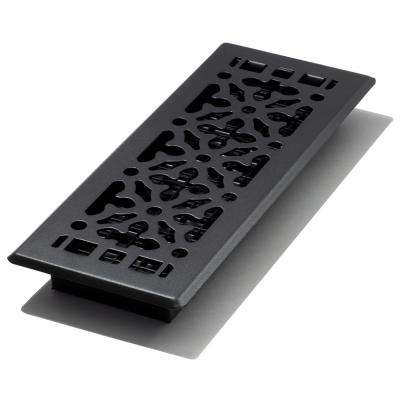 4 in. x 12 in. gothic design black steel floor register