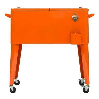 80 Qt. Orange Rolling Patio Cooler