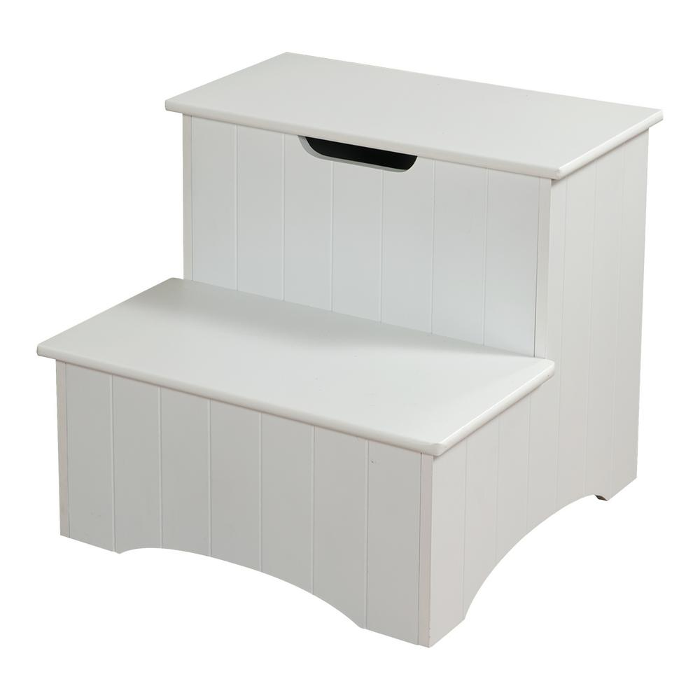 Kings Brand Furniture 2 Step White Wood Stool With Storage
