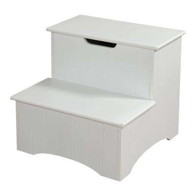 2-Step White Wood Step Stool with Storage