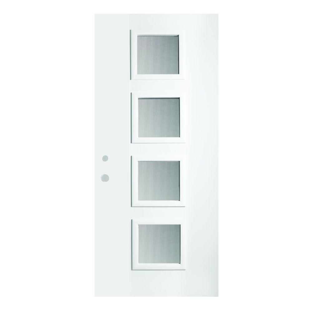 Stanley Doors 36 In X 80 In Evelyn Screen 4 Lite Painted White Right Hand Inswing Steel Prehung Front Door 1908q 36 R The Home Depot