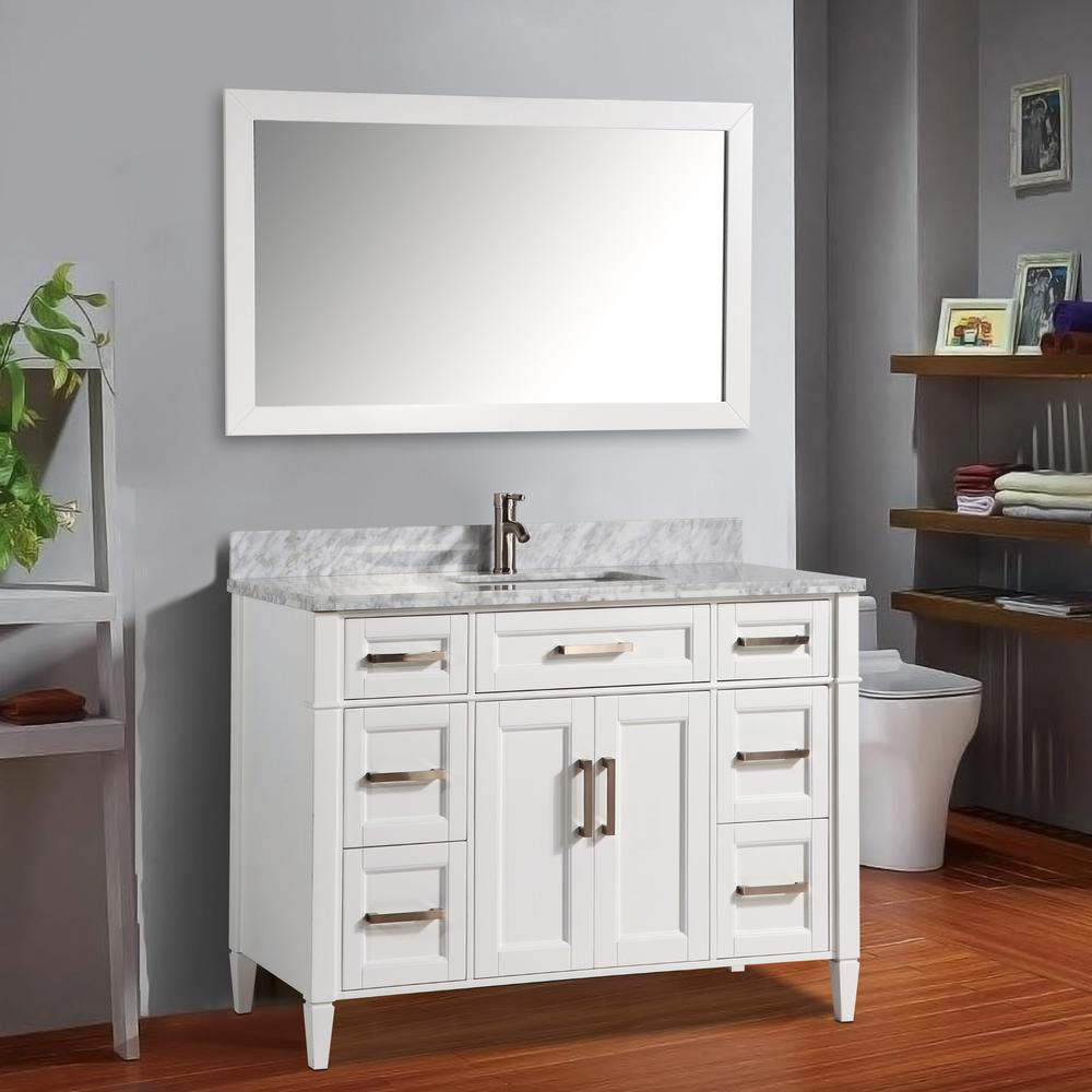 Vanity Art Savona 60 in. W x 22 in. D x 36 in. H Bath Vanity in White with Vanity Top in White with White Basin and Mirror