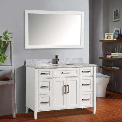 Savona 60 in. W x 22 in. D x 36 in. H Bath Vanity in White with Vanity Top in White with White Basin and Mirror