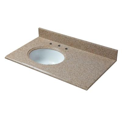 37 in. W x 22 in. D Granite Vanity Top in Beige with Offset Left White Basin