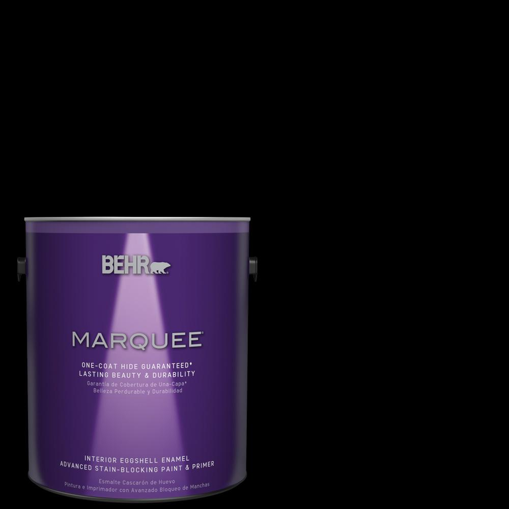 Behr marquee 1 gal black eggshell enamel interior paint and primer in one 245301 the home depot for Best interior paint and primer in one