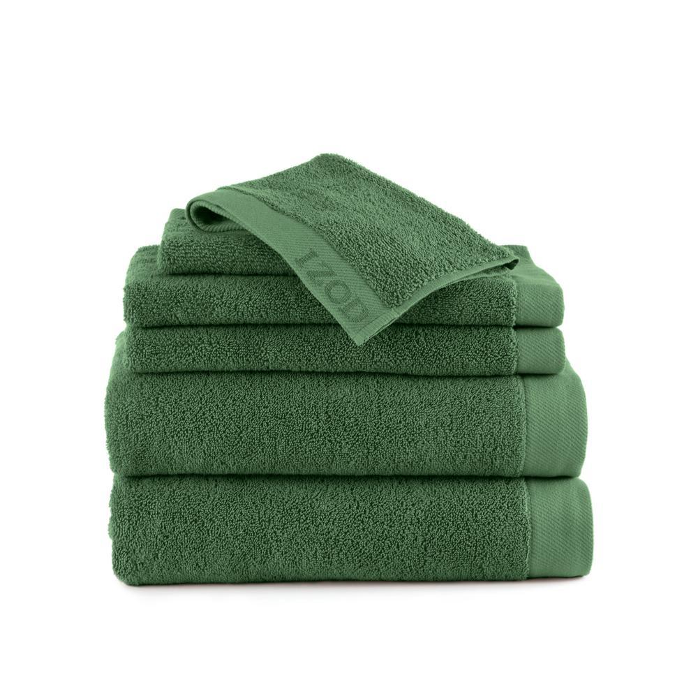 IZOD Classic 6-Piece Cotton Bath Towel Set in Stone Green 079465022469