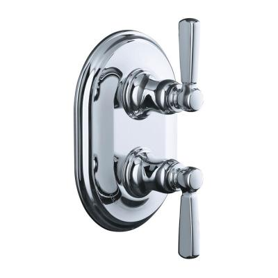 Bancroft 2-Handle Stacked Thermostatic Valve Trim Kit with Metal Lever Handle in Polished Chrome (Valve Not Included)