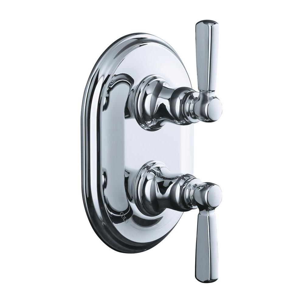 Bancroft 2-Handle Stacked Thermostatic Valve Trim Kit with Metal Lever Handle