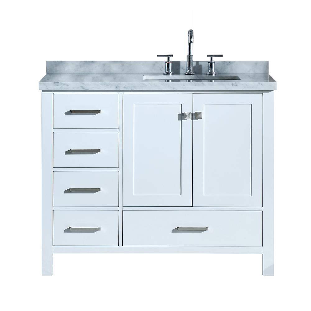 Ariel Cambridge 43 in. Bath Vanity in White with Marble ...