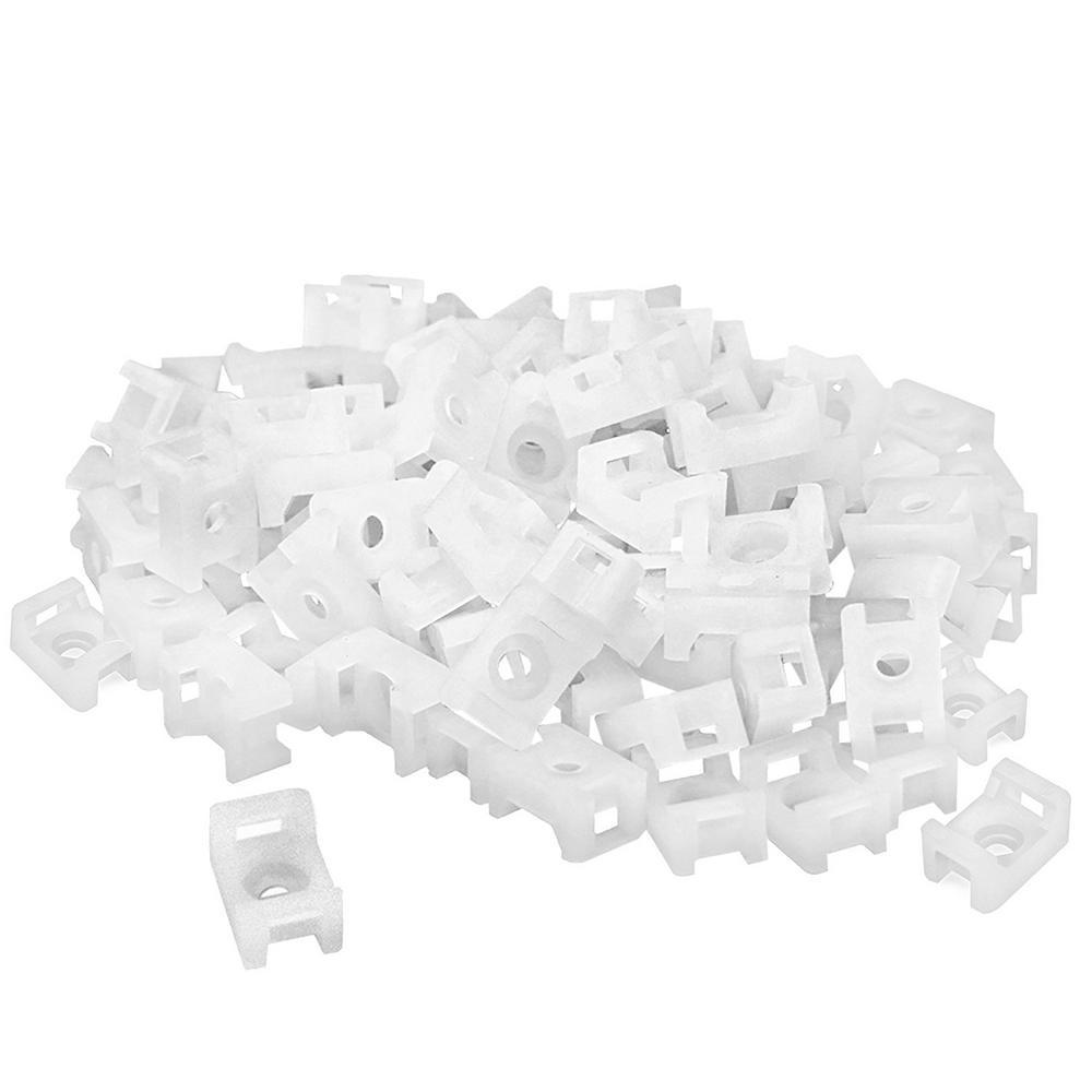 Cable Tie Mounts, (100-Pieces), White
