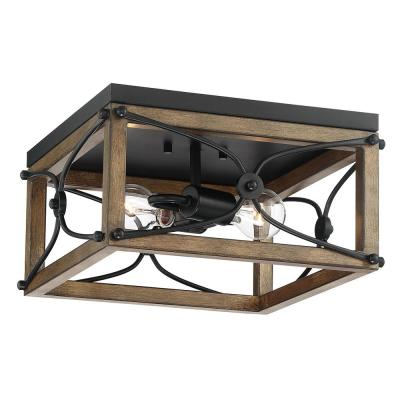 Open square 14 in. 2-Light Painted Wood with Vintage Black Flush Mount