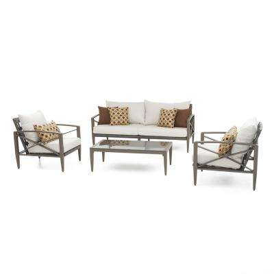 Knoxville Taupe 4-Piece Aluminum Patio Seating Set with Moroccan Cream Cushions
