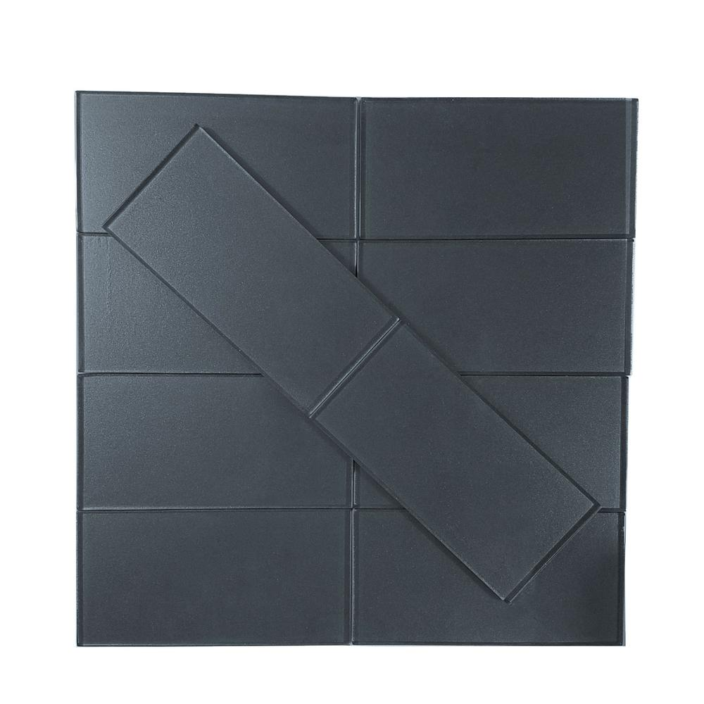 Metallics Blue Gray 3 in. x 6 in. Glass Wall Tile