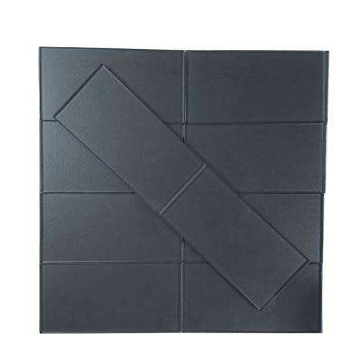 Metallics Blue Gray 3 in. x 6 in. Glass Wall Tile (1 sq. ft. / pack)