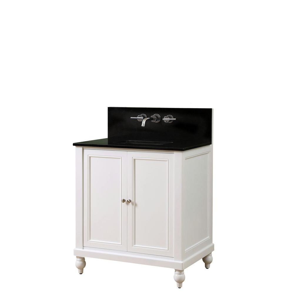 Direct vanity sink Classic Premium 32 in. Vanity in Pearl White with Granite Vanity Top in Black with White Basin