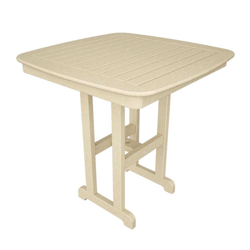 Nautical 37 in. Sand Plastic Outdoor Patio Counter Table